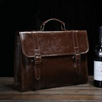 商务手提公文包韩版男包 复古箱型公文包 休闲单肩斜挎手提包包设计