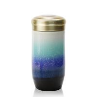 乾唐轩活瓷杯小雪晶随身杯雪晶款单层330ml创意陶瓷便携茶水杯子