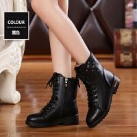 秋冬季新款马丁靴女学生英伦中筒靴子韩版短靴潮平底女皮靴女鞋子