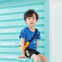 【夏清仓1件3折价:29.7】361度童装 男小童2021夏季短袖T恤男童透气针织衫短袖