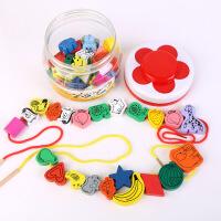 木质45粒大号儿童穿珠子串珠玩具 宝宝动物水果认知益智玩具爆