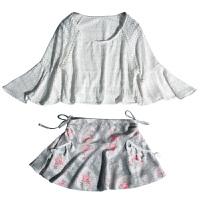 性感泳衣女裙式比基尼三件套大码半衫温泉韩国小香风小胸聚拢泳装 灰花朵