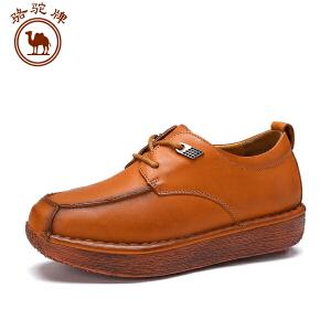 骆驼牌 秋季牛皮系带松糕鞋圆头单鞋舒适耐磨百搭