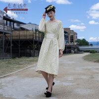 生活在左2018新款秋季女士复古原创设计感绣花刺绣长袖连衣裙长裙