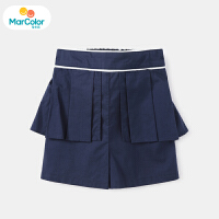 【1件3折】马卡乐童装22夏新款女宝宝时尚甜美纯色百褶好穿短裤
