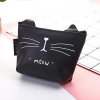 韩版日用品批发 黑猫果冻胶零钱包 黑白动物图案钥匙包