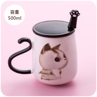 创意马克杯带盖勺可爱陶瓷杯子有盖咖啡杯牛奶杯 玻璃杯
