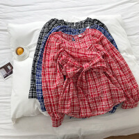 2019春季新款韩版小清新撞色格子绑带收腰显瘦泡泡袖衬衣长袖上衣