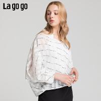 Lagogo/拉谷谷2019夏季新款撞色字母印花蝙蝠袖上衣女IASS404F15