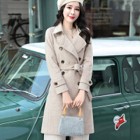 白领公社 风衣 女士秋冬韩版中长款纯色长袖连帽大衣女式少女风收腰肩章不规则学院风学生外套