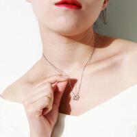项链女银锁骨链吊坠情人节礼物送女友镶施华洛世奇锆 【家】配40CM项链