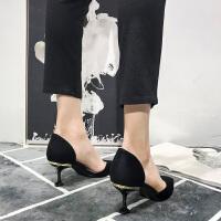 黑色高跟鞋女细跟性感尖头单鞋女百搭韩版新款2019春款猫跟鞋夏季百搭鞋