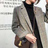 2018新款秋冬双面羊绒大衣女中长款流行格子韩版西装复古毛呢外套 紫橙格 五天发货