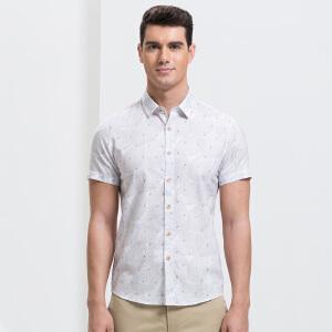 才子男装(TRIES)短袖衬衫 男士2017年新款白灰色时尚创意几何拼接短袖休闲衬衫