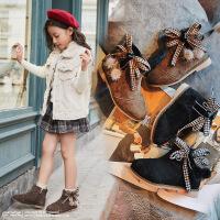 女童加绒保暖二棉蝴蝶结公主靴