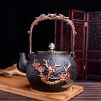 【只有一个】老铁壶出口日本南部铁茶壶 铸铁壶 喜上眉梢图案水壶 大铁壶泡茶壶 铸铁壶 电磁炉专用铁壶