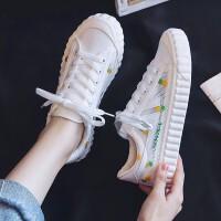 夏沫帆布鞋女2019夏季�W生鞋�n版�\口系��西瓜菠�}水蜜桃�W面小白鞋透�庑蓍e�干板鞋