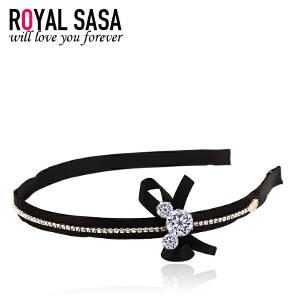皇家莎莎RoyalSaSa发饰头饰品韩式布艺蝴蝶结发箍女气质发卡头箍发前夹HFS509288