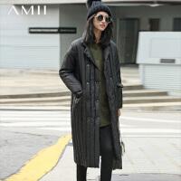 【满200减100 上不封顶】AMII[极简主义]冬装新品立领中长款过膝加厚羽绒服女11681861