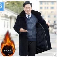 爸爸冬�b外套加�q加厚����冬季保暖呢子�L衣中老年人毛呢大衣男士
