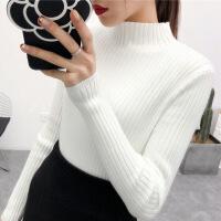 打底毛衣女2018新款半高领套头短款针织衫秋冬修身长袖打底衫黑色 白色 S