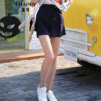 海贝夏季新款女装休闲裤 高腰木耳边系带收腰显瘦A字短裤藏青
