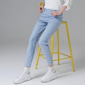 初语2017夏装新款女裤子 简约净色浅蓝色百搭九分裤女小脚裤