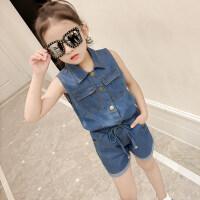 女童套装2018新款夏装洋气韩版时尚儿童时髦牛仔衬衣短裤两件套潮 蓝色