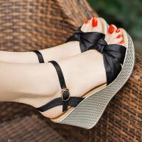 坡跟凉鞋女粗跟韩版夏季新款性感仙女风松糕厚底中高跟鞋 黑色 (8公分)