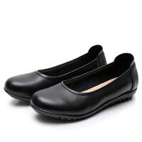 软底不磨脚舒适女鞋坡跟圆头休闲女单鞋上班皮鞋工作鞋女黑色