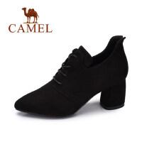 camel 骆驼女鞋 2017秋季新款 简约百搭高跟鞋女 舒适优雅粗跟尖头单鞋