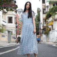 生活在左2019夏季新款文艺气质短袖桑蚕丝格子连衣裙女真丝中长款