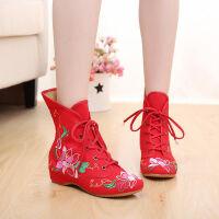 老北京布鞋女绣花鞋民族风女鞋内增高单鞋舞蹈鞋单靴短靴子女秋季