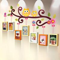 御目 照片墙 客厅卧室幼儿园墙面装饰品挂件田园风卡通相框挂饰儿童饰品7寸实木不规则墙框个性壁挂