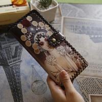 韩版复古长款原宿潮流涂鸦日系可爱卡通情侣钱包女皮革钱夹子学生 栗色 戏剧性感美女