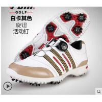 防水真皮鞋子 自动旋转鞋带 新品 高尔夫球鞋 男款