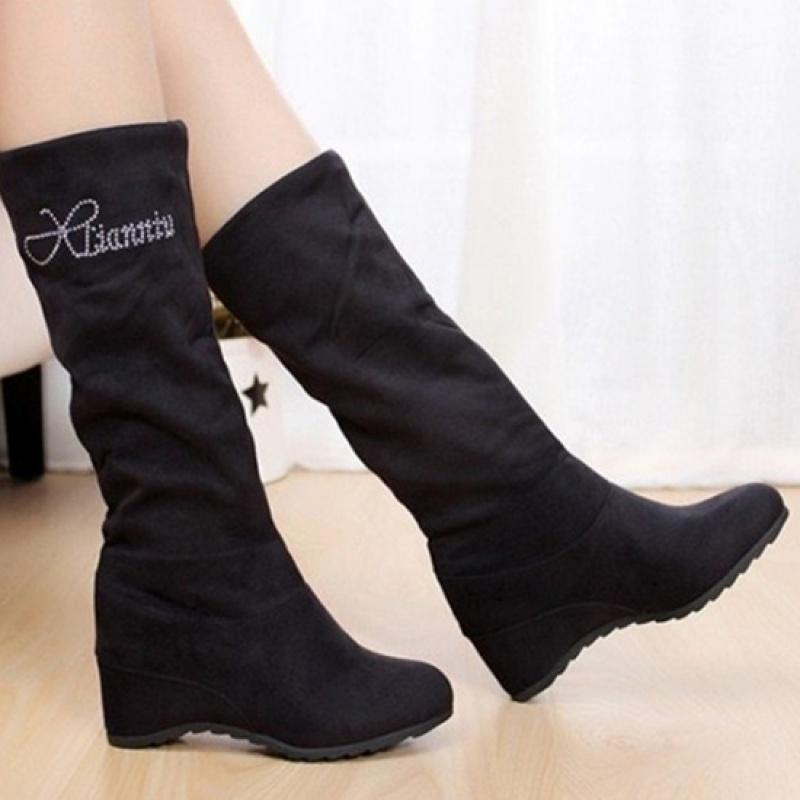 单靴子女学生韩版平底短靴内增高女鞋春秋冬季加绒大码中筒靴