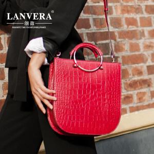 【支持礼品卡】LANVERA 新款女包欧美轻奢时尚鳄鱼纹托特包简约牛皮手提包女士大包包 L2016