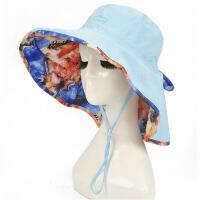 宽边太阳帽子女式遮阳帽布夏天凉帽女双面防晒可折叠
