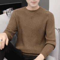 冬季男士毛衣宽松圆领针织打底衫韩版衣服秋冬套头上衣潮流毛线衣 咖啡 M