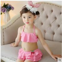 温泉儿童泳衣女童宝宝泳装 中小女童 配泳帽蛋糕层裙分体裙式儿童 可礼品卡支付