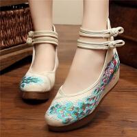 春夏季老北京女鞋高跟民族风布鞋亮片凤凰厚底绣花鞋内增高单鞋