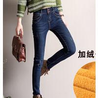新款加绒牛仔裤 高腰韩版女裤铅笔裤 加厚显瘦破洞小脚裤
