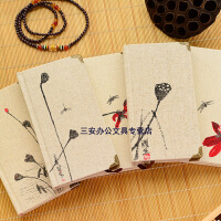 麻布复古中国风随身笔记本/商务硬抄/丝绸布复古线装旅行192页日记本32KA6