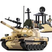 【618满200减100】古迪 积木 塑料拼插军事武装突袭坦克男孩礼物6岁以上拼装拼搭亲子互动游戏儿童玩具用品