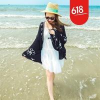 原创巴厘岛泰国蕾丝拼接宽松百搭刺绣披肩外套海边旅游度假沙滩防晒衫GH032 黑色 均码