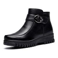 中老年加厚底皮毛一�w羊毛皮鞋女冬季棉鞋����鞋防滑保暖靴子 黑色