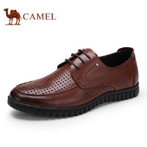 骆驼牌男鞋 新品柔软透气牛皮休闲鞋镂空系带低帮皮鞋