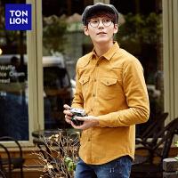 【2件3折价39.5元】唐狮春装新款灯芯绒男士长袖衬衫修身时尚韩版青年衬衫