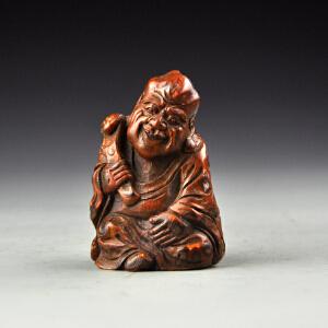 竹根雕人物把件包浆熟红